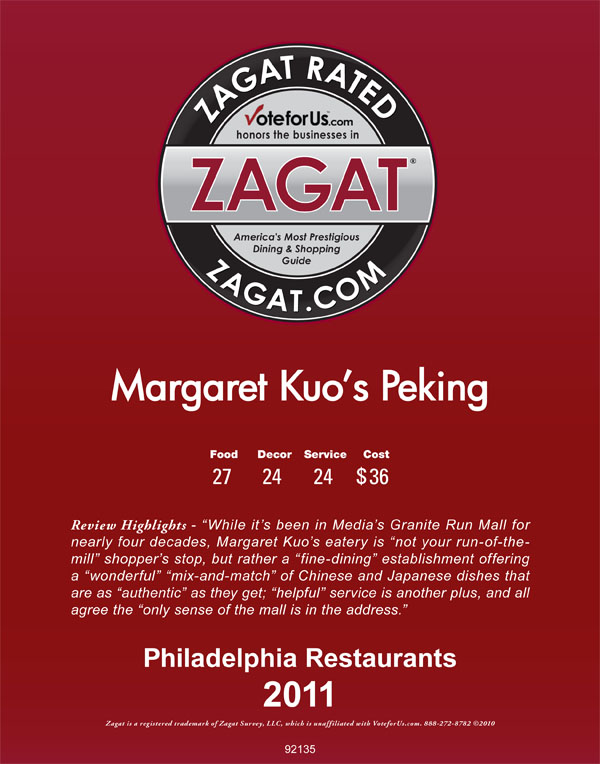 Peking Zagat Rated 2001